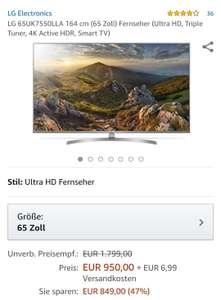 LG 65UK7550LLA 164 cm 65 Zoll Ultra HD 4K active HDR @Amazon