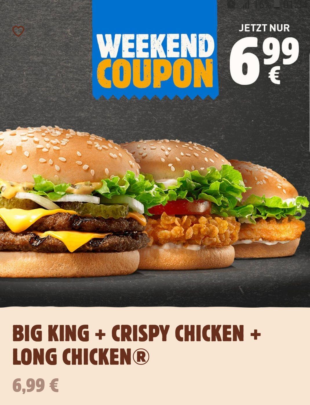 Burger King Weekend Coupon: Big King + Crispy Chicken + Long Chicken für 6,99€