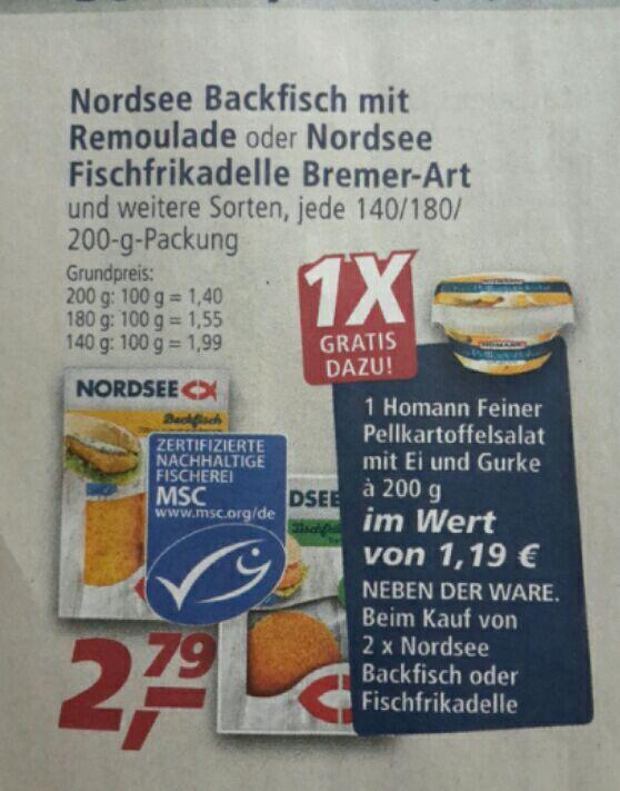 [Real offline]  2 Nordsee Backfisch/Bremer kaufen - 1x Homann Kartoffelsalat gratis (zusätzlich 2,79€ Cashback möglich)