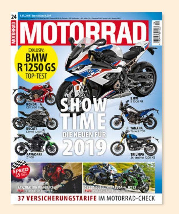 """""""Motorrad"""" Schnupperabo / Probe-Abo (3 Monate, 7 Ausgaben) für 31,85€ + 31,85€ Geldprämie (Scheck)"""