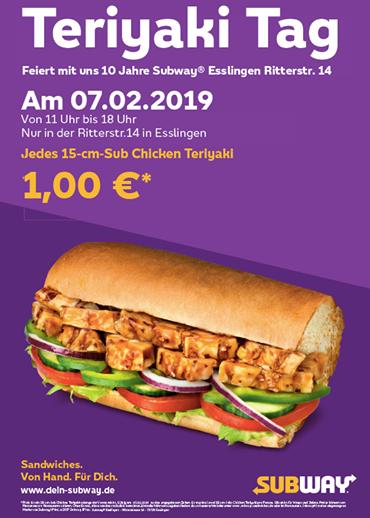 [Lokal im Subway Esslingen] 15cm Sub Chicken Teriyaki am 07.02.2019 für 1€