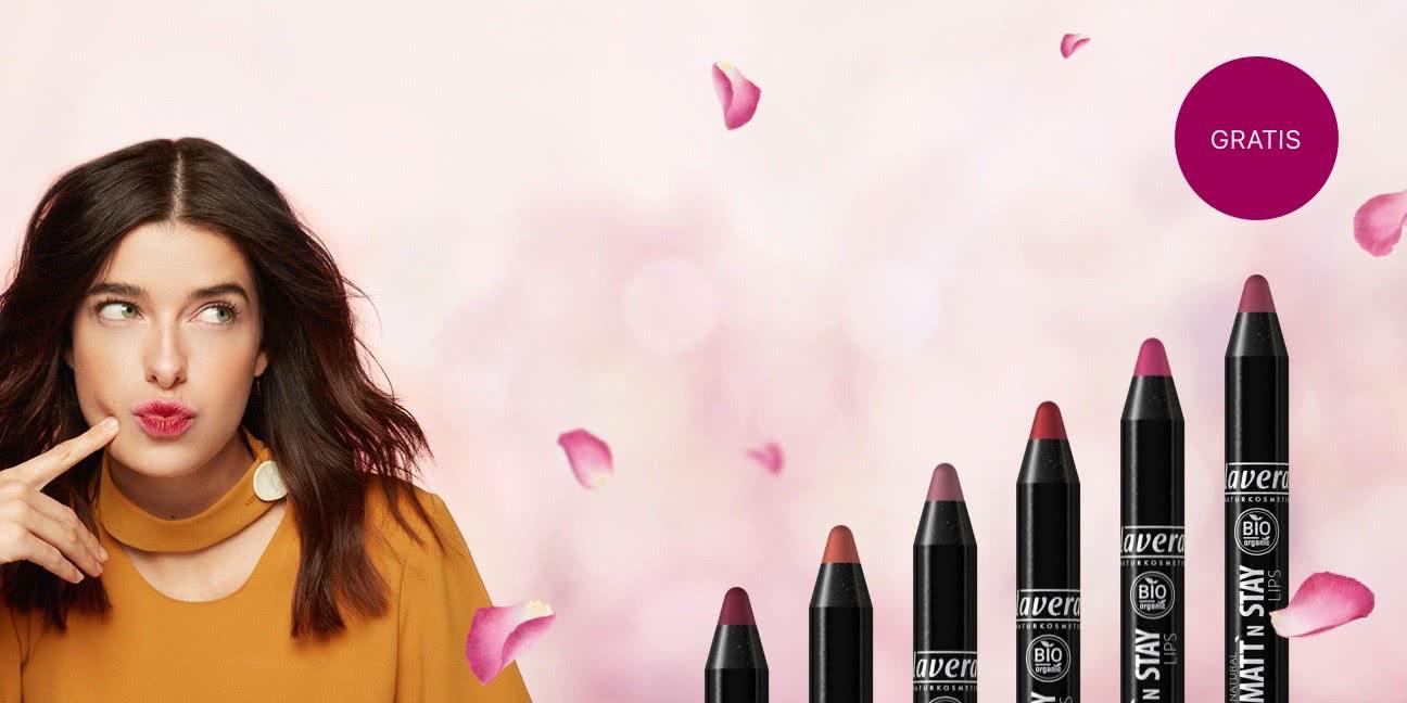 lavera - Gratis NATURAL MATT´N STAY LIPS (Farbe MATT'N BERRY 06) für eine Online-Befragung zur dekorativen Kosmetik (FREEBIE)