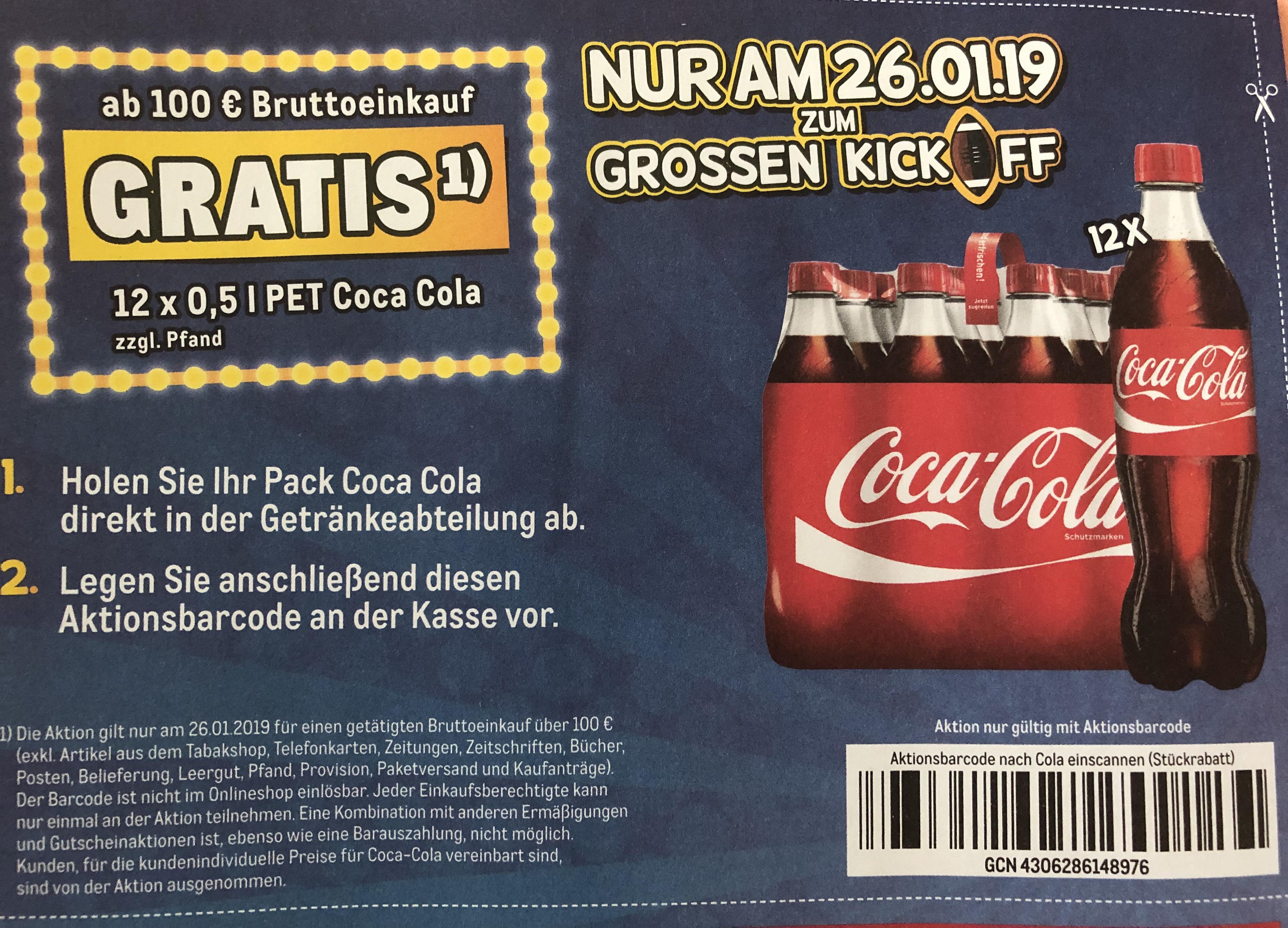 Metro Gratis 12X 0,5 L Pet coca cola  ab 100 € Brutto