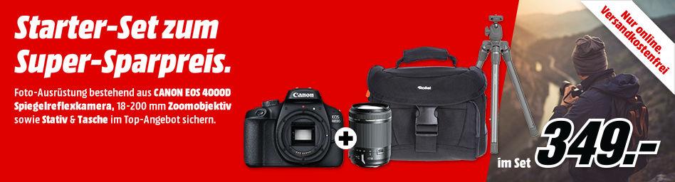 CANON EOS 4000D + Tamron 18-200mm f3.5-6.3 Di II VC [Canon] + ROLLEI Kameratasche + ROLLEI Stativ für 299€ (Media Markt)
