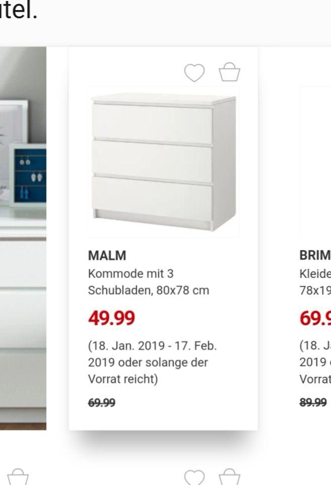 Ikea Malm Kommode mit 3 Schubladen in weiß