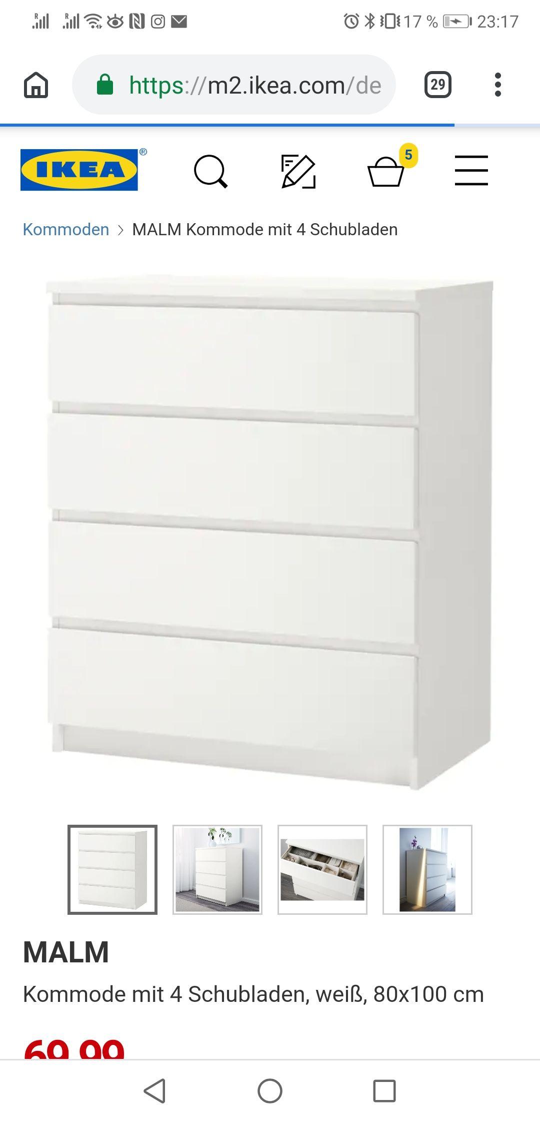 IKEA MALM Kommode mit 4 Schubladen weiß