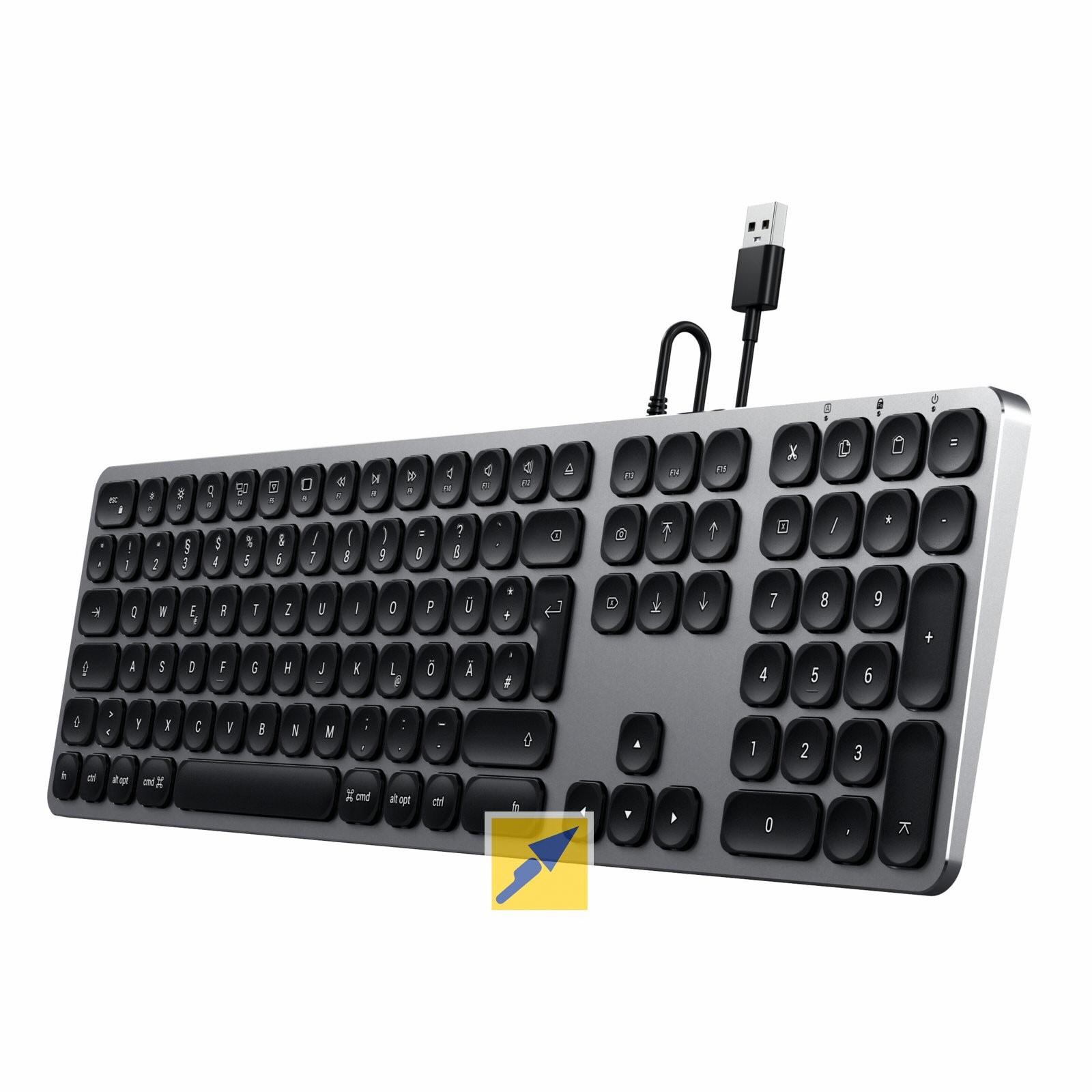 Satechi Aluminium-Tastatur für Mac (mechanisch, kabelgebunden, german) [TECHNIKdirekt + paydirekt]