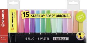 STABILO Textmarker BOSS ORIGINAL - 15er Tischset (9 Leuchtfarben, 6 Pastellfarben) für 9,99€ (Müller)