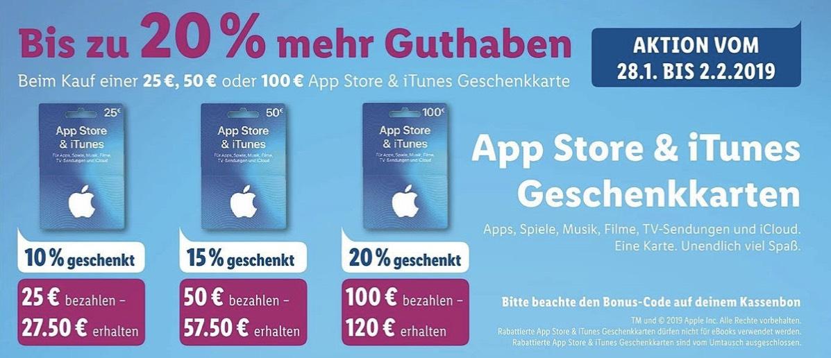 Bis zu 20% mehr Guthaben bei App Store & iTunes Geschenkkarte [Lidl ab 28.01.2019]