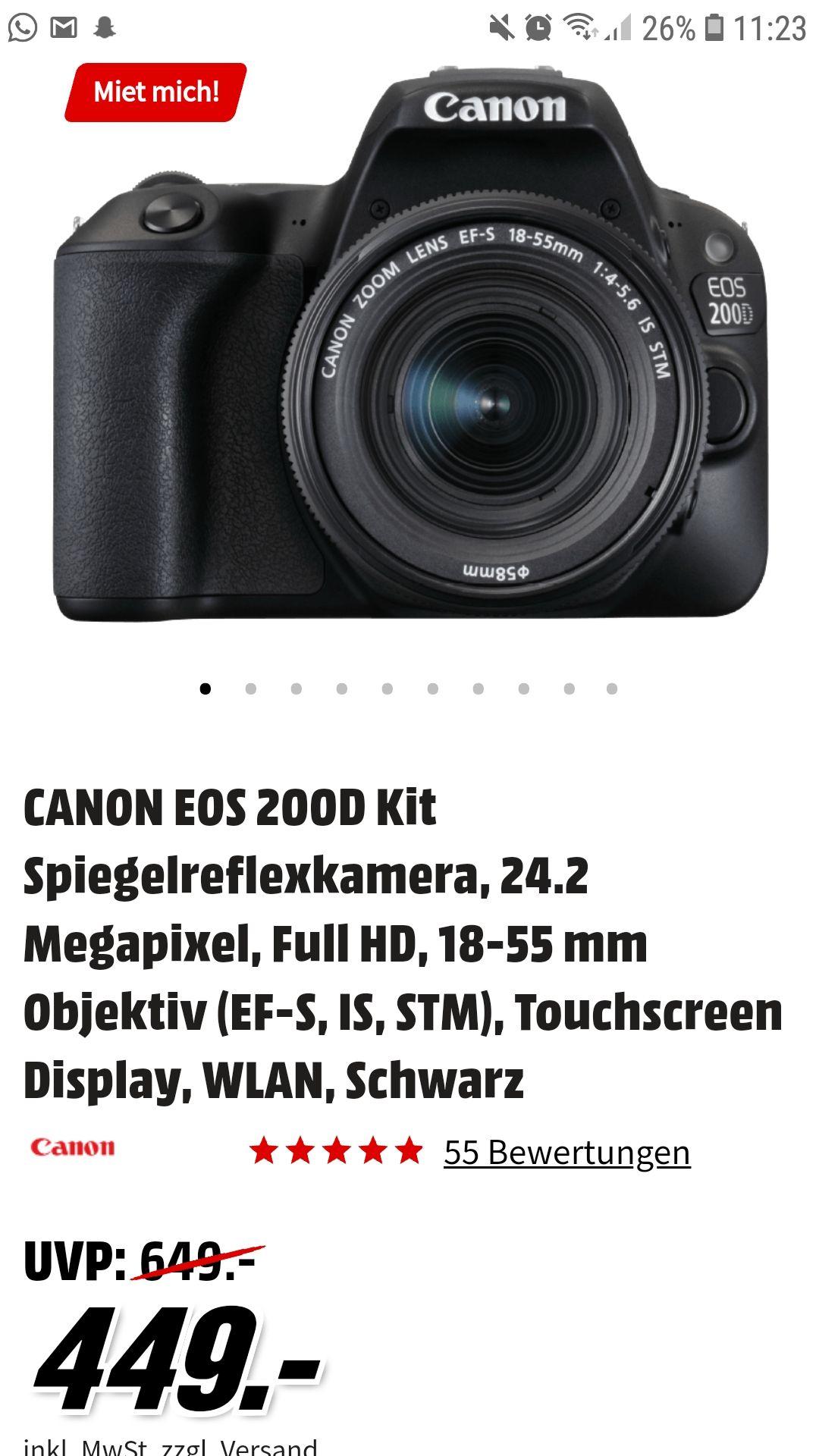 Canon EOS 200d mit 18-55mm IS STM Objektiv (Media Markt)