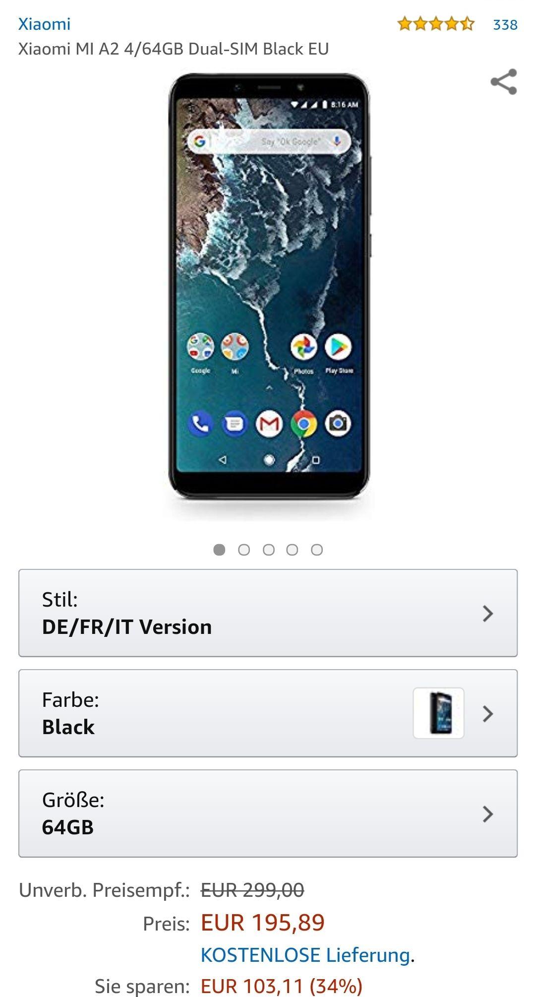 Xiaomi MI A2 4/64GB Dual-SIM Black EU Android One 9.0 [Amazon] Versand aus Deutschland/Amazon