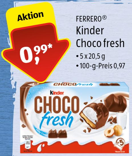 Kinder Choco fresh (5x20,5g) für 99 Cent bei ALDI Süd ab 01.02.