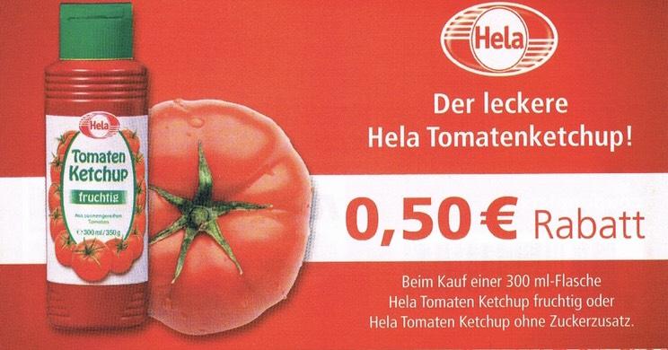 [Hela] 0,50 € Sofortrabatt beim Kauf einer 300 ml Flasche Tomaten Ketchup fruchtig oder ohne Zuckerzusatz