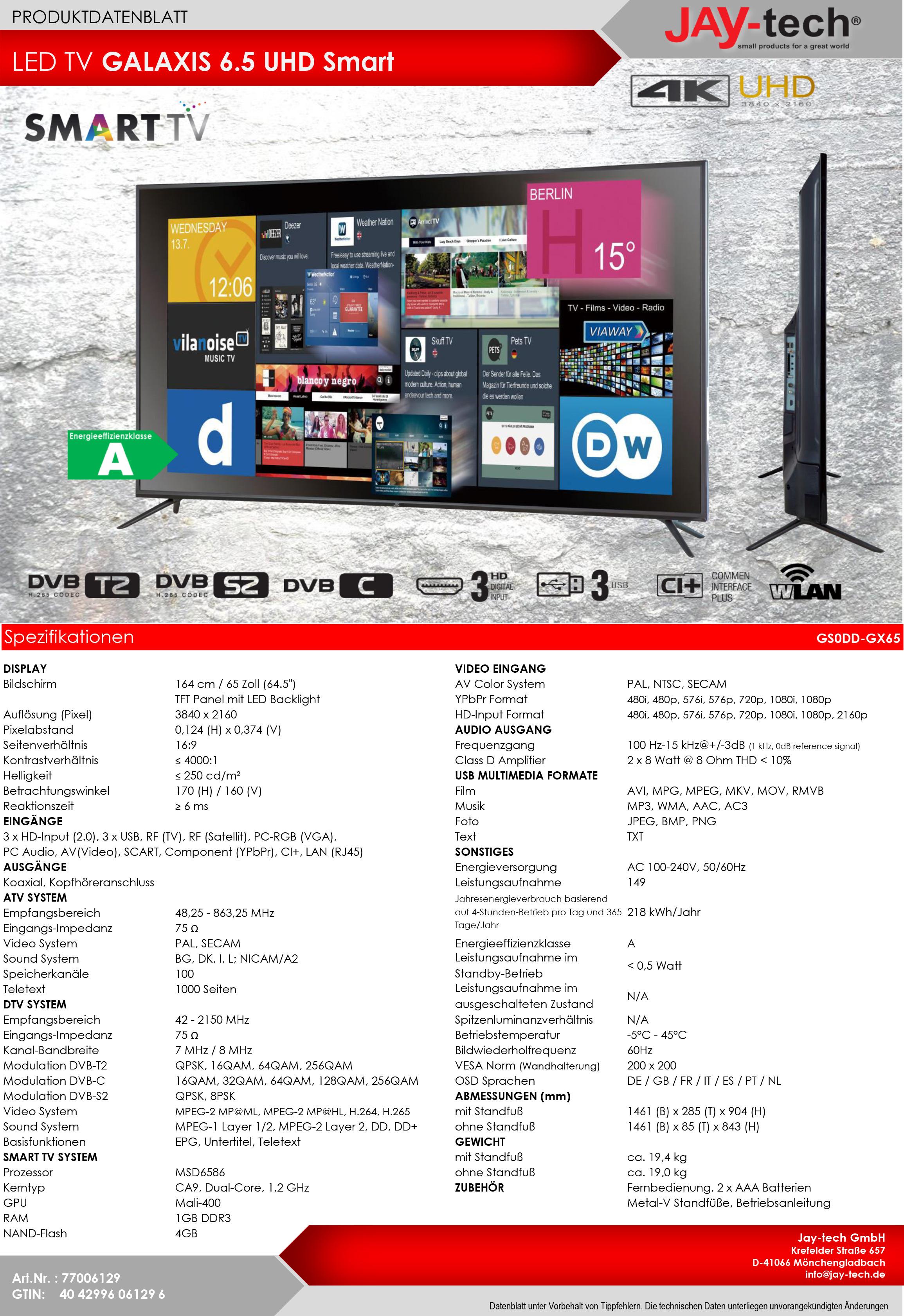 [Lidl.de] JTC GALAXIS 6.5 UHD 4K Fernseher, 65 Zoll, Smart TV