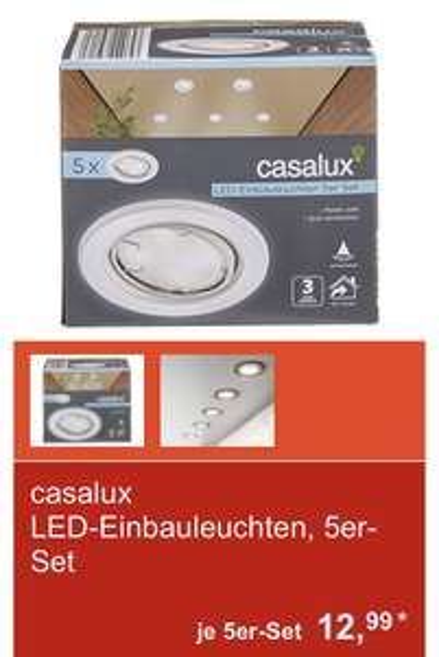 LED-Einbauleuchten, 5er Set schwenkbar 4 Watt Aldi Süd Casalux