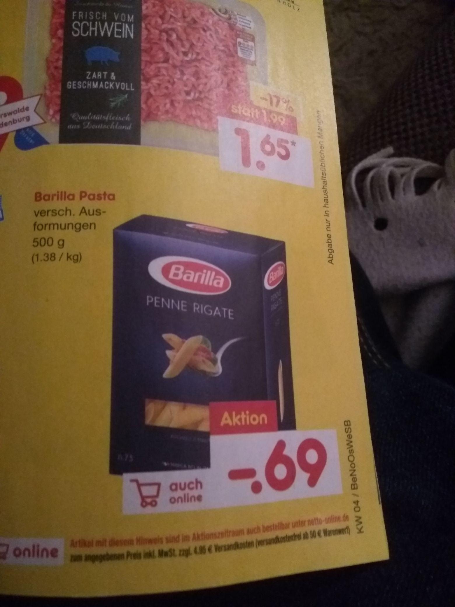 [Netto MD] Barilla Pasta 500 g verschiedene Ausformungen 1,38/kg auch online