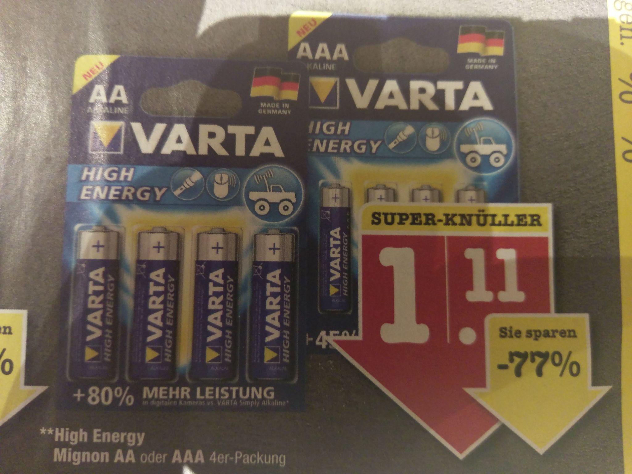 Varta High Energy AA oder AAA Batterien (Lokal FFM)