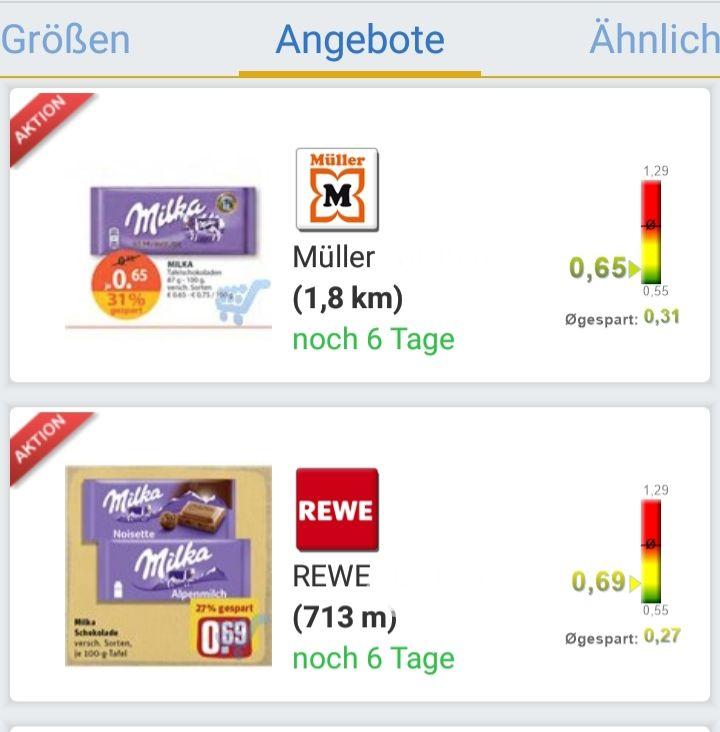 Milka 1 x 100g Tafel nach Wahl für 0.30€ oder 1x 270-300g Tafel für 1,49€ durch Cashback