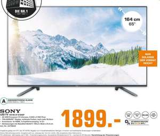 [Regional Saturn Köln Hansaring] SONY KD-65ZF9 LED TV (65 Zoll, UHD 4K, SMART TV, Android TV) für 1899,-€