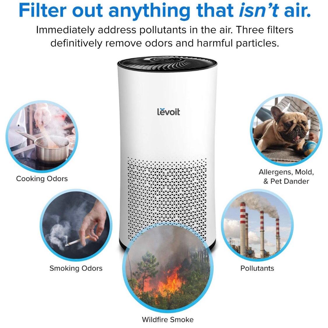 Levoit Luftreiniger Air Purifier mit HEPA-Kombifilter & Aktivkohlefilter, 3-Stufen-Filterung