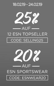 25% auf 12 ESN Topseller + 20% auf ESN Sportswear