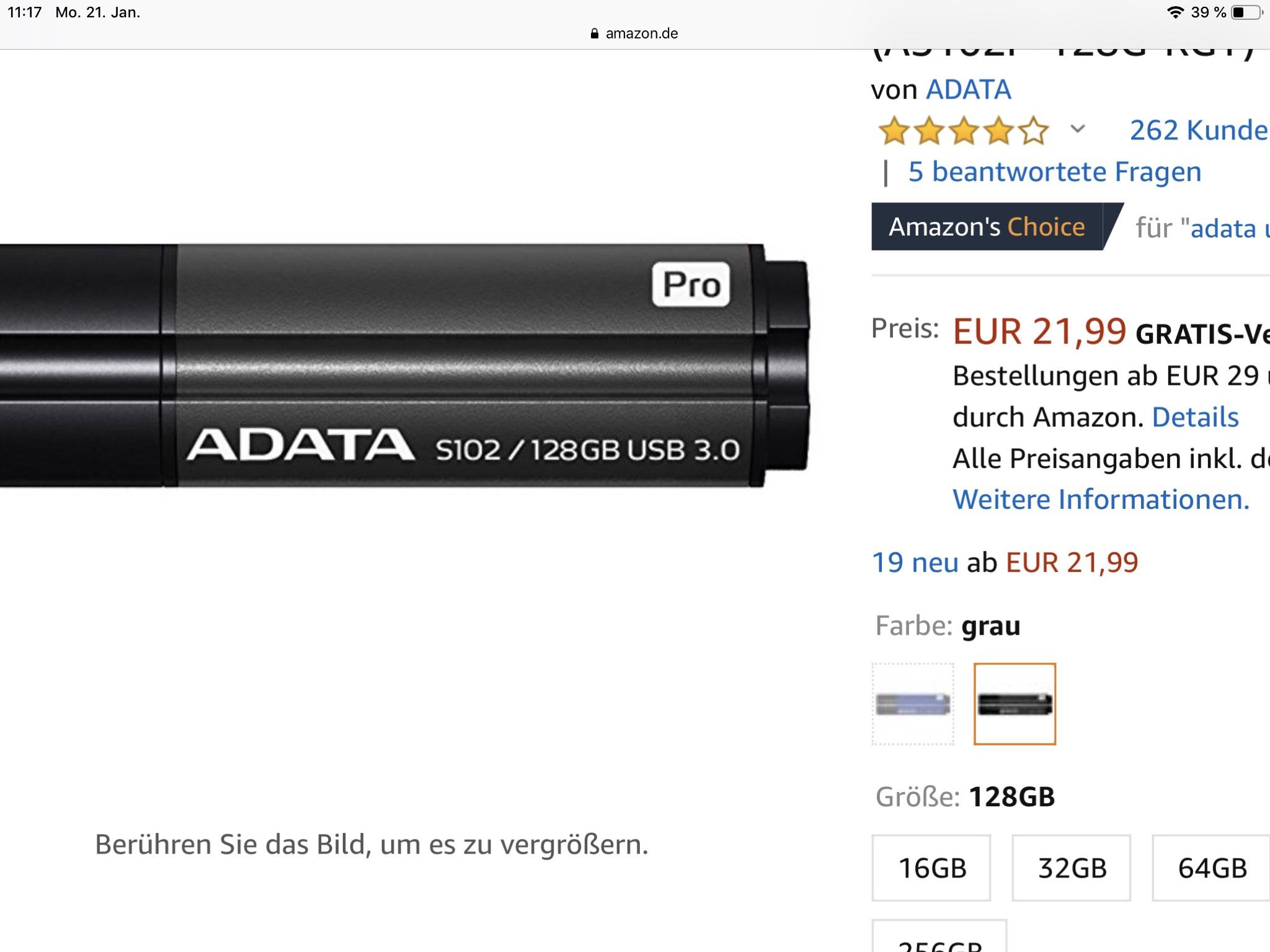 ADATA Stick - ADATA Elite S102P USB3.0 Flash Drive 128GB - 21,99 EUR.