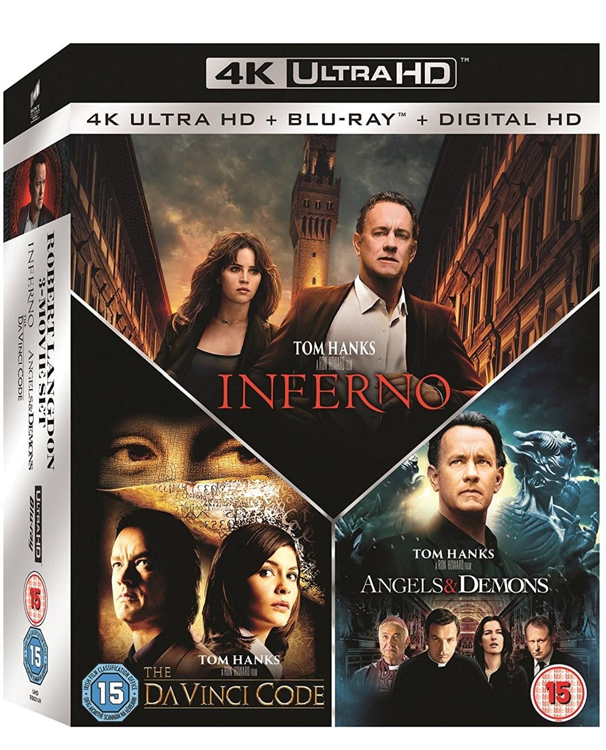 The Da Vinci Code Trilogie mit Sakrileg + Illuminati + Inferno (4K Blu-ray + Blu-ray) für 36,13€