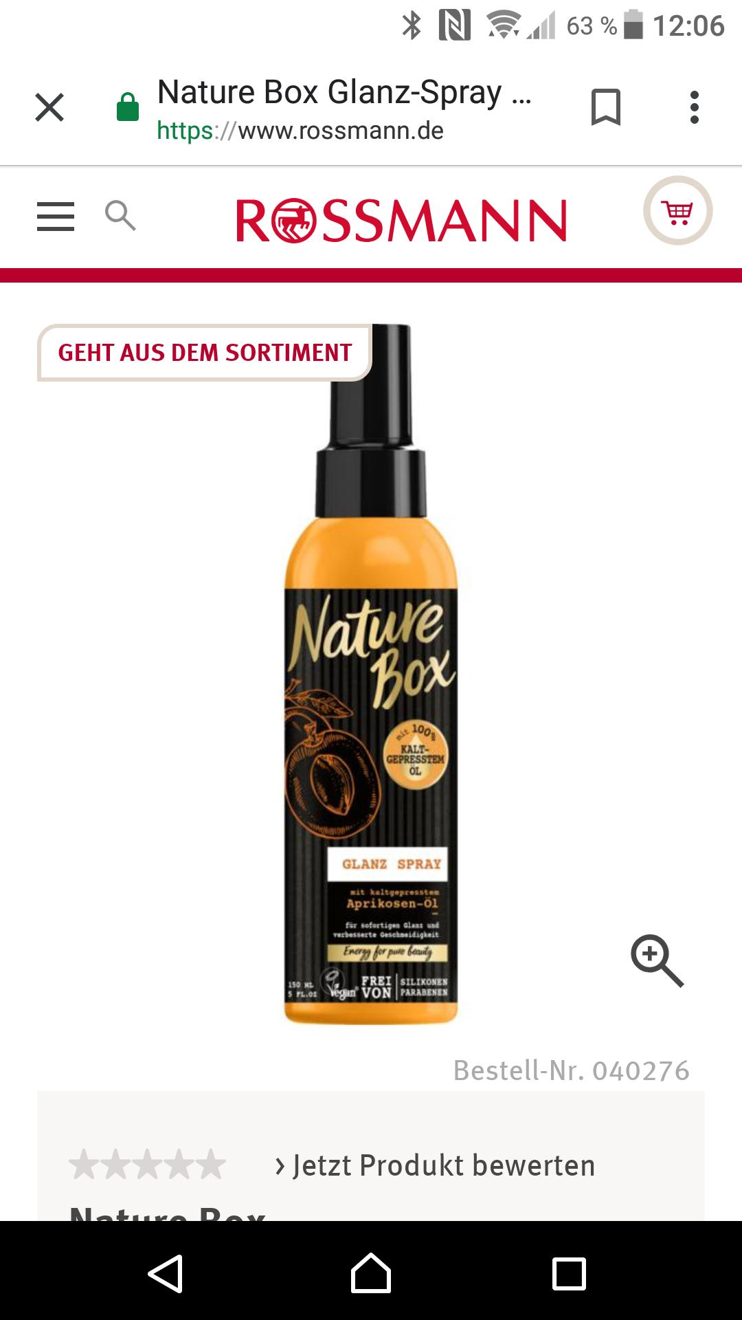 Nature Box Glanz-Spray (und evtl. Andere Kuren) für 1,53 mit Green Label Preis + Coupon + 10% Coupon bei Rossmann