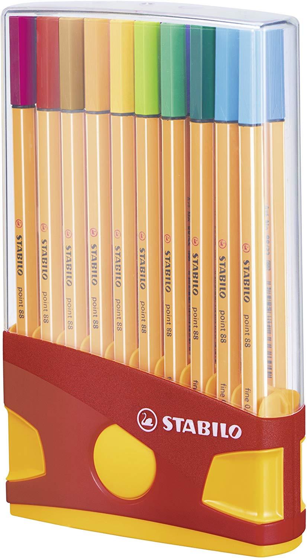Fineliner STABILO point 88 ColorParade - 20er Klappbox mit 20 verschiedenen Farben für 9,99€ (Müller)