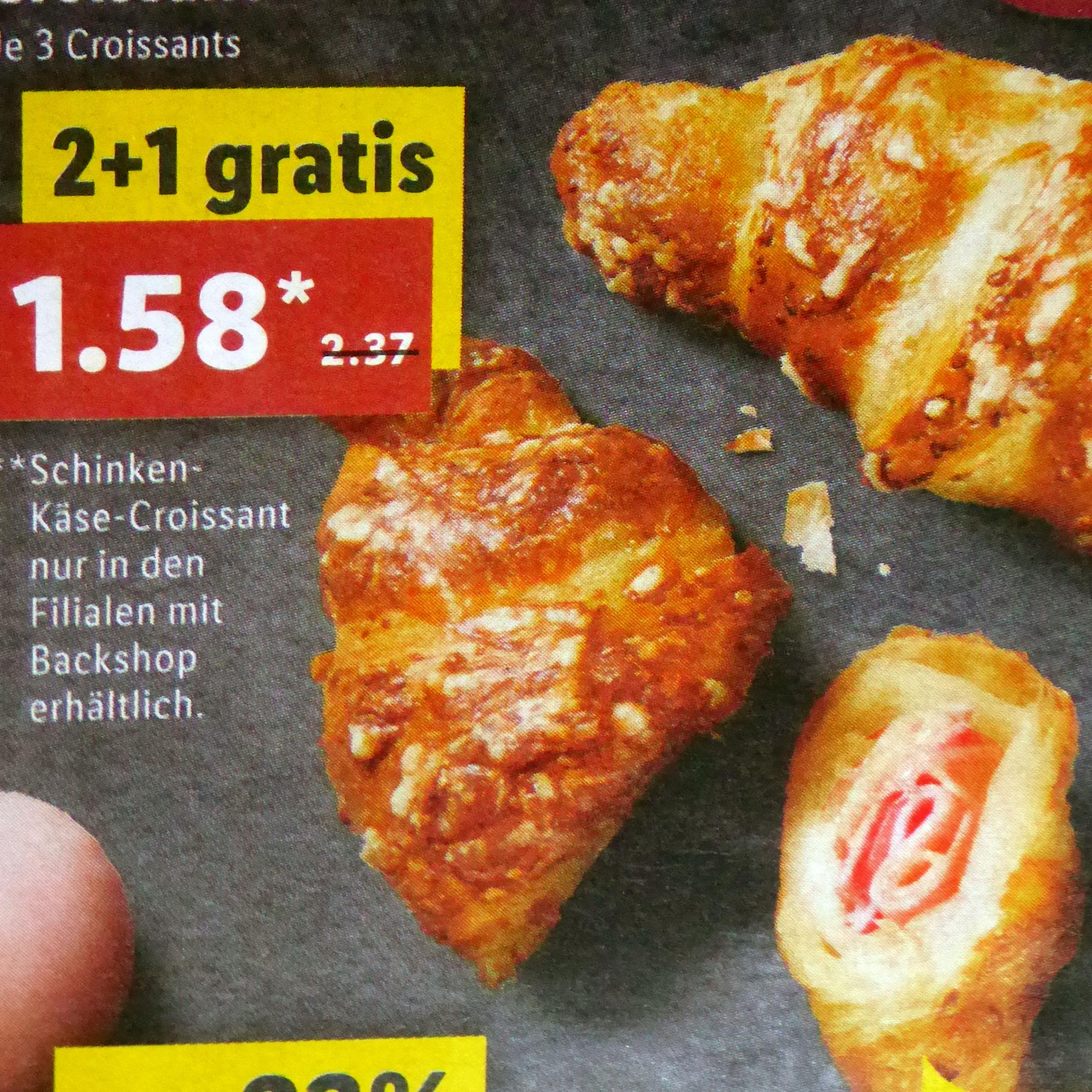 3-für-2-Aktion für Schinken-Käse-Croissants bei ( Lidl ab 28.01.)