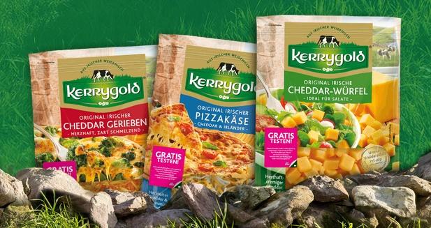 Kerrygold Cheddar gratis testen - je 150g gerieben, Pizzakäse oder Würfel