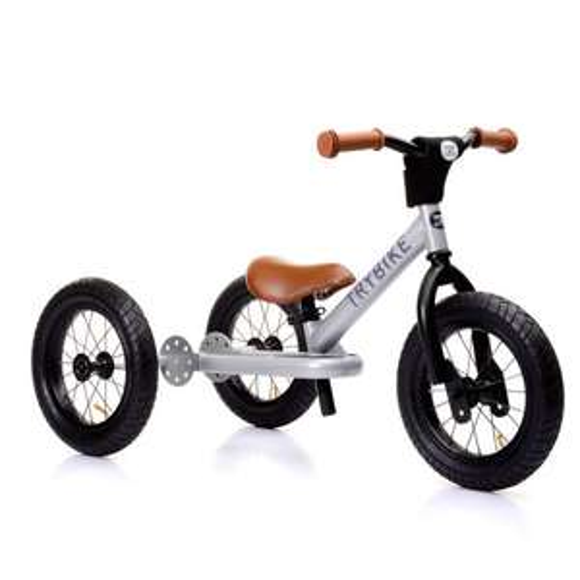 Trybike Steel Dreirad bzw. Laufrad (Stahl, Luftreifen, mitwachsend, umbaubar zum Zweirad, Fußstütze, 18 Monate bis 5 Jahre)