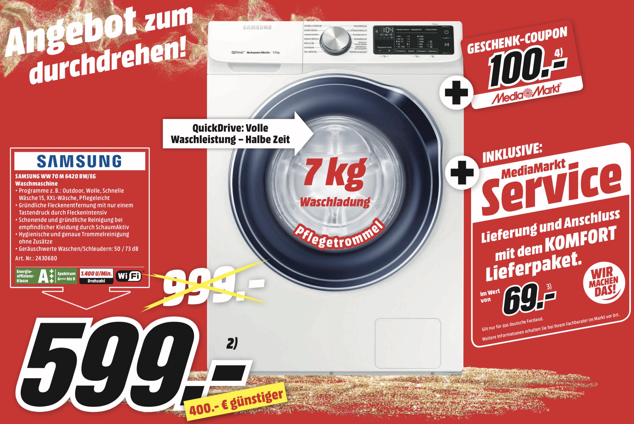 SAMSUNG QuickDrive WW70M642OBW/EG Waschmaschine 7kg A+++ plus Komfort-Lieferung plus 100€ Geschenk-Coupon für 599€ [Lokal Hamburg, Rostock]