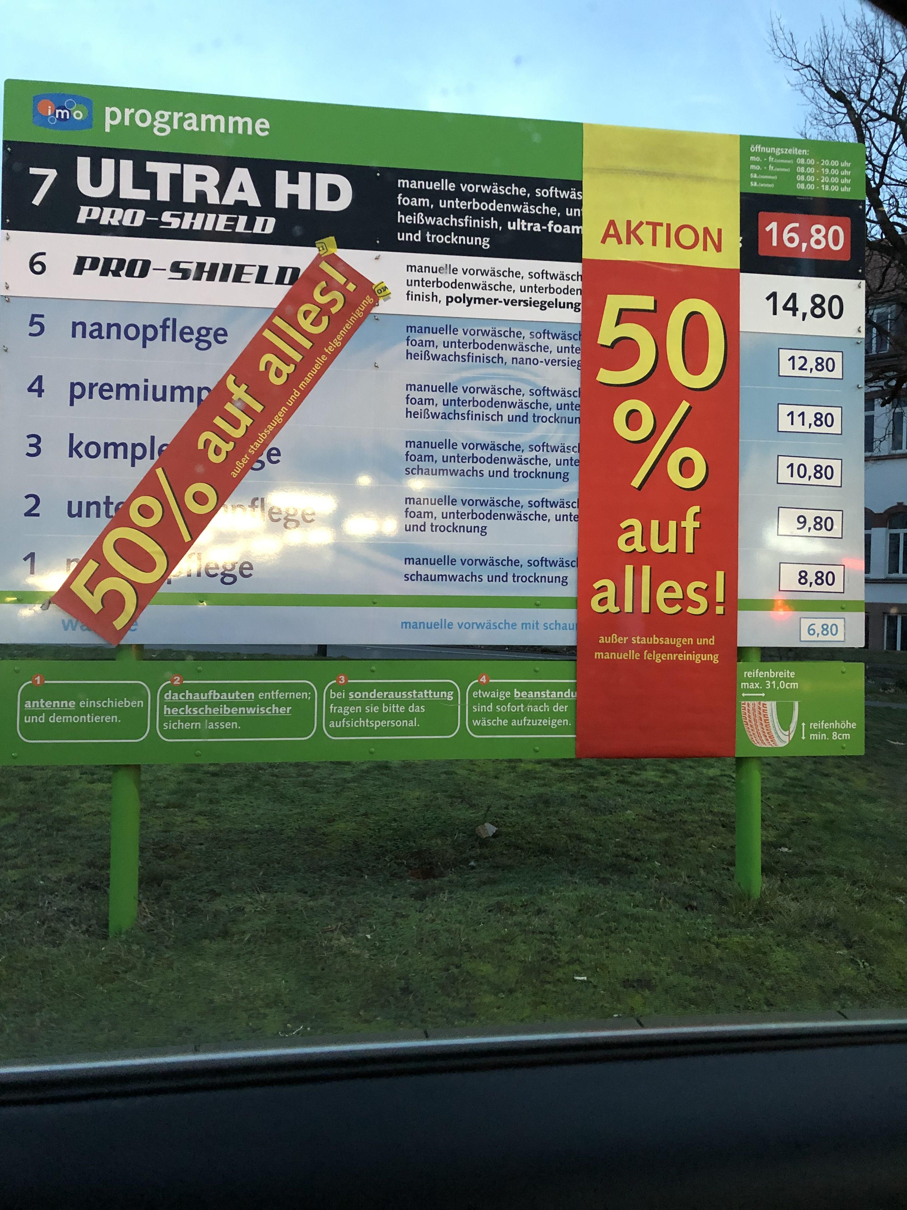 [lokal Hanau] - imo Car Wash 50% auf alles außer man. Felgenreinigung