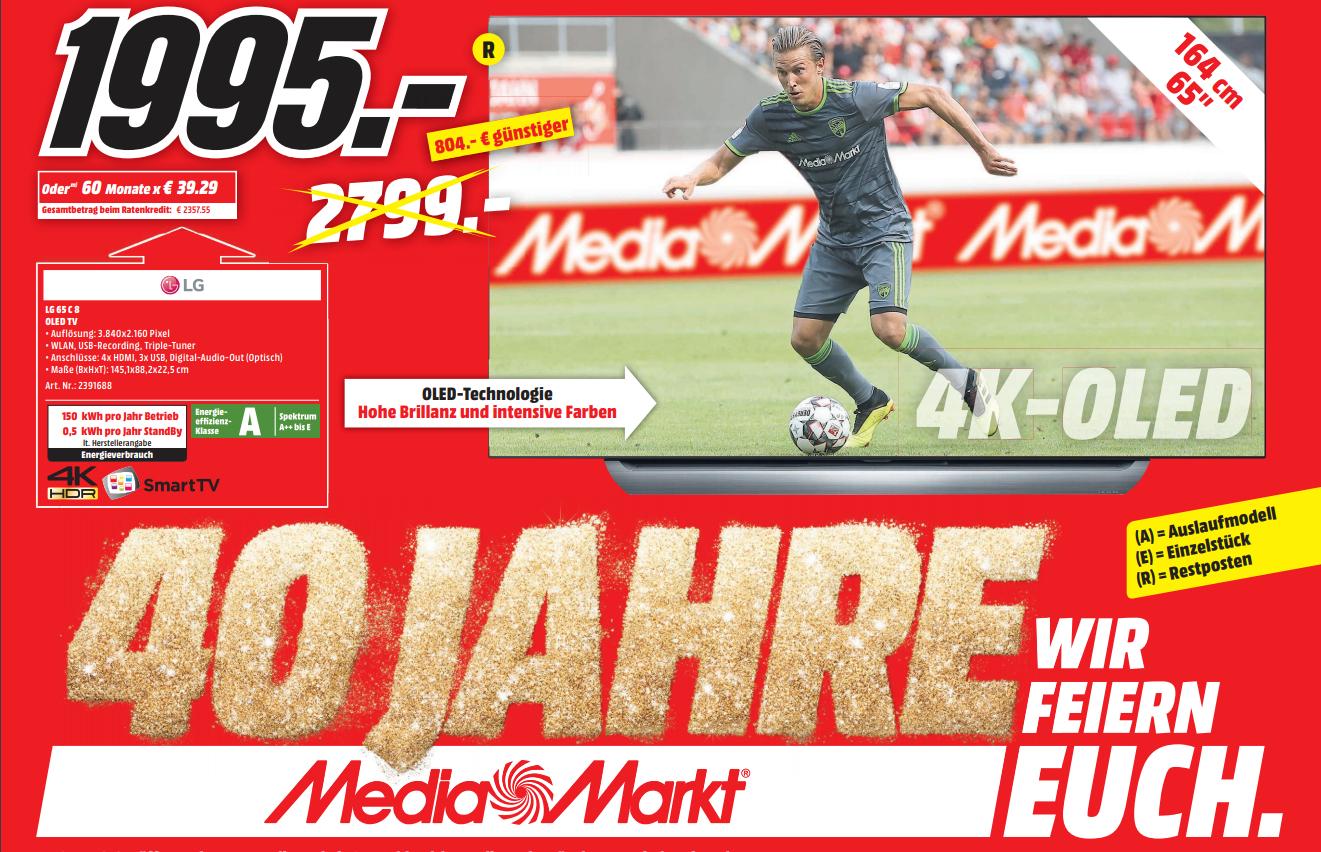 Lokal Media Markt Gütersloh LG OLED C8 65 Zoll für 1995,- € Restposten