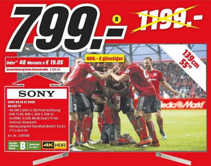 [Regional Mediamarkt Köln-Kalk] SONY KD-55XF9005 LED TV (Flat, 55 Zoll, UHD 4K, SMART TV, Android TV) für 799,-€