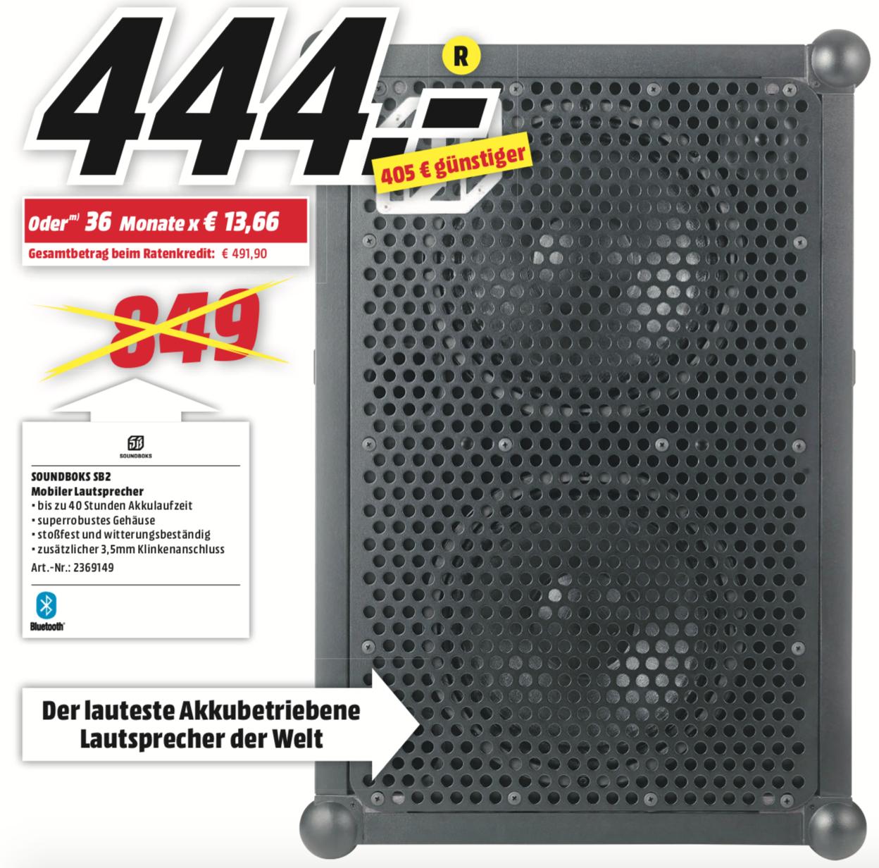 SOUNDBOKS 2 tragbarer Bluetooth Partylautsprecher (MediaMarkt Lokal Dorsten)