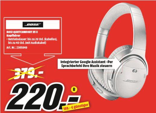 [Regional Mediamarkt Rendsburg] BOSE Quietcomfort 35 QC35II Over Ear silber Noise Cancelling Wireless Kopfhörer für 220,-€