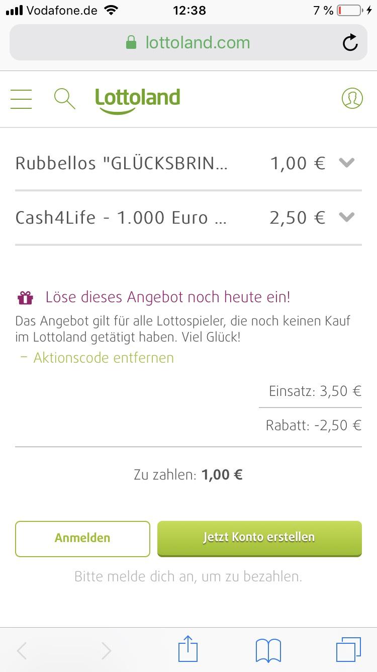 Rubbellose und Cash4Life bei Lottoland Aktionspreis für Neukunden