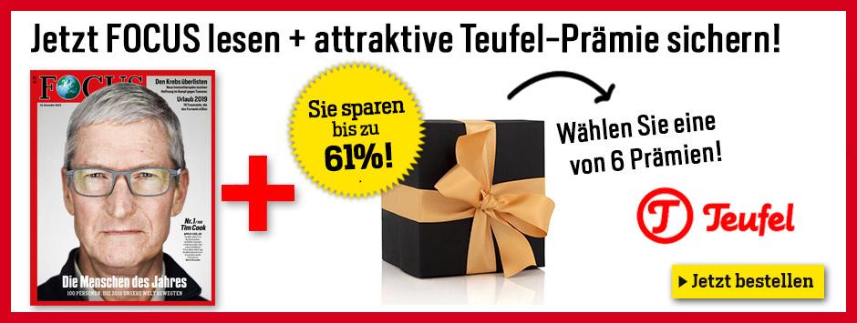 Verschiedene Teufel Produkte + 6 Monate Focus Abo (Wert 117 €), Beispielsweise Teufel Cinebar one 169 € oder