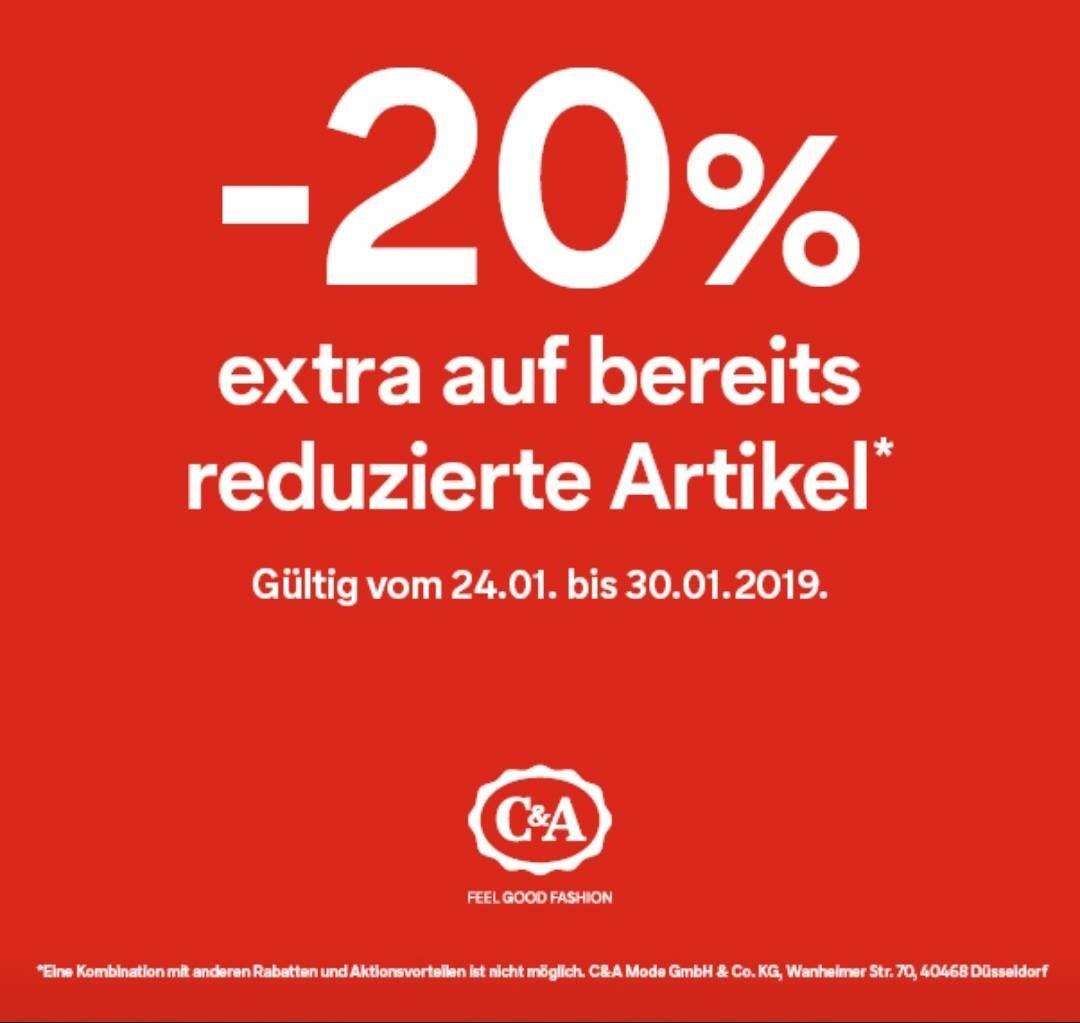 20% Rabatt in C&A Filialen auf Sale