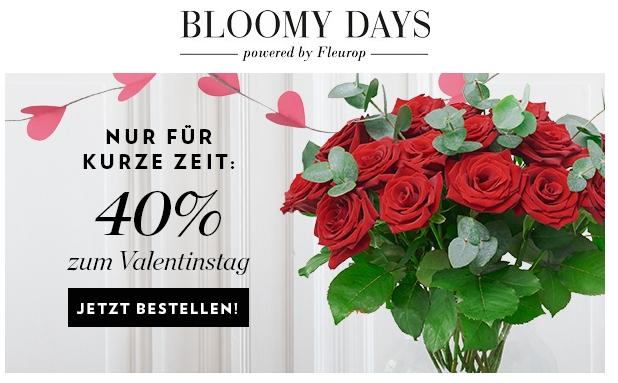 40% auf alle Blumen-Bouquets bei Bloomy Days powered by Fleurop