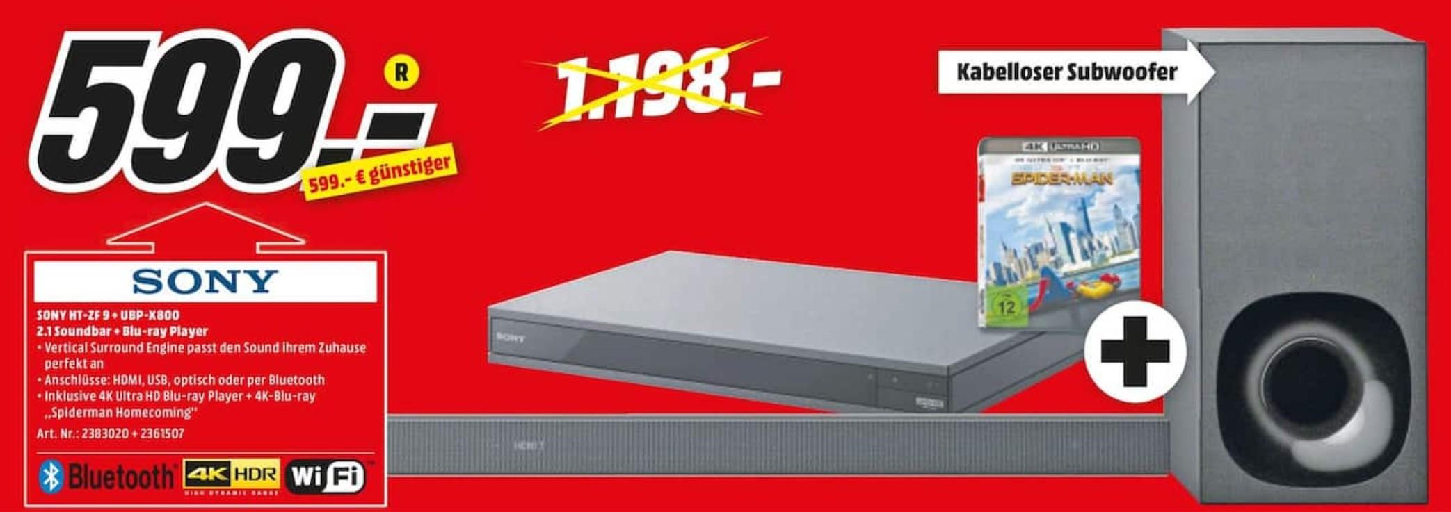 [LOKAL Magdeburg] Sony HT-ZF9 + Sony UBP-X800 4K Blu-Ray Player + Spiderman Homecoming 4K-Blu-Ray