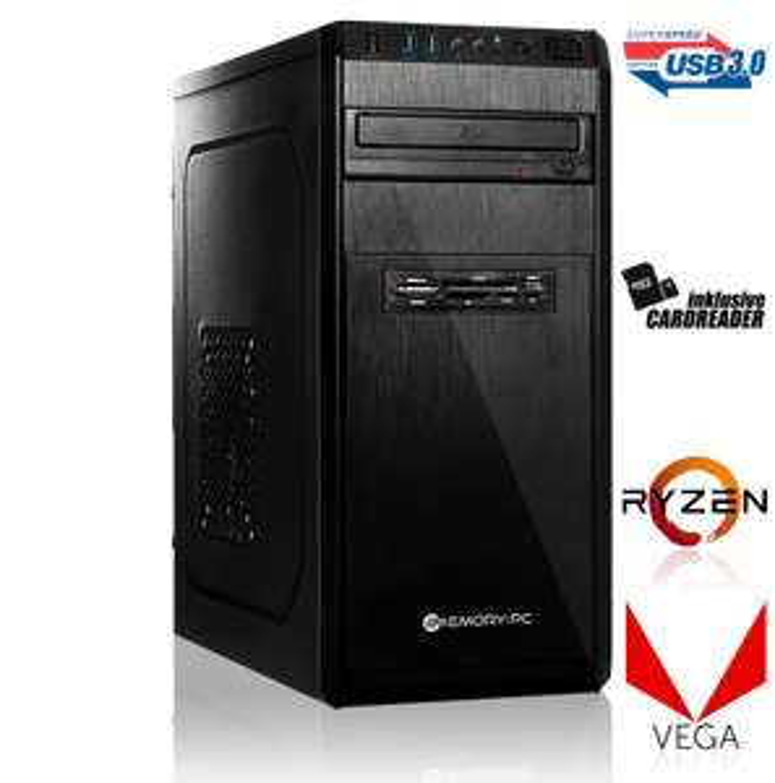 Office / Multimedia PC [konfigurierbar] Ryzen 2400G, A320M, 8GB DDR4-2666, 120GB SSD, 550W (mit Ryzen 2200G, 240GB SSD, 8GB DDR4-2666=289€)