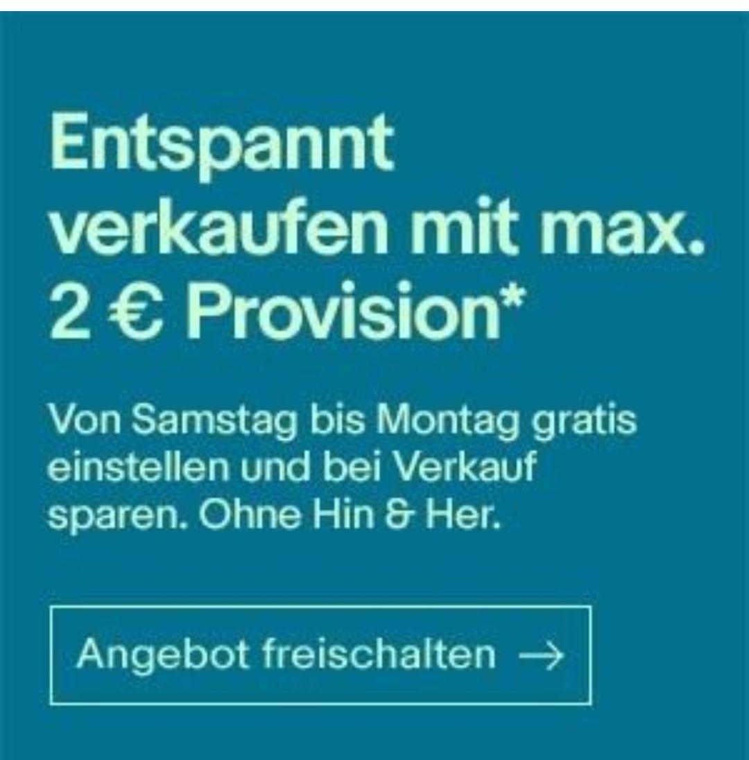 Ebay 2€ Verkaufsprovision (ab 9.2.; personalisiert/eingeladene Verkäufer)