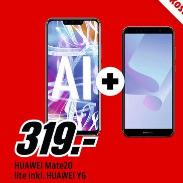 [Mediamarkt] Huawei Mate 20 Lite + Huawei Y6 (2018) für 319,-€