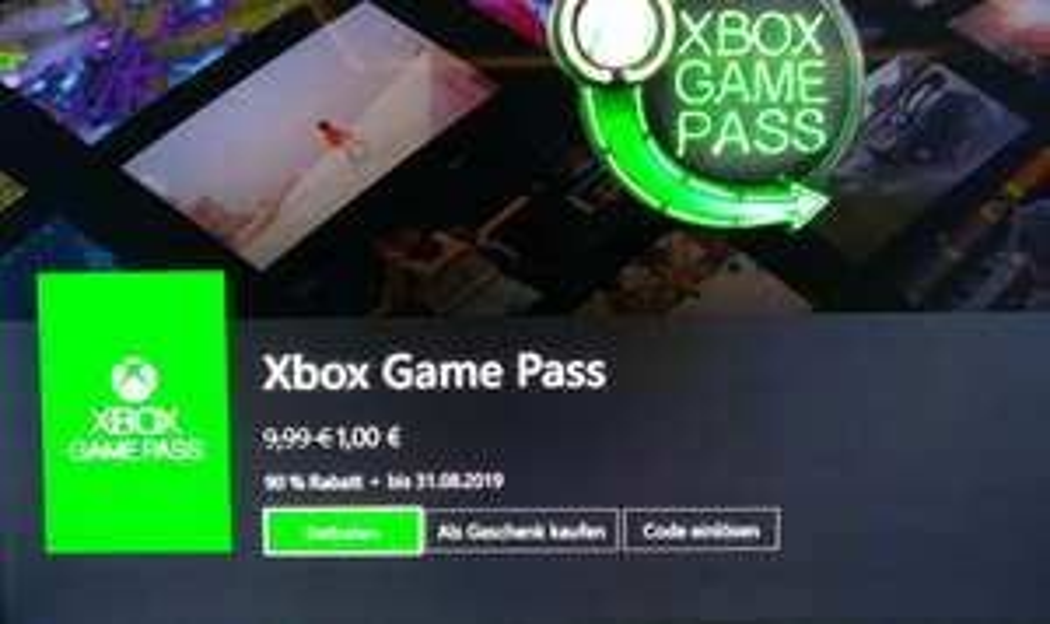 Xbox Game Pass 1 Monate für 1,00€ (vermutlich Rückholangebot)
