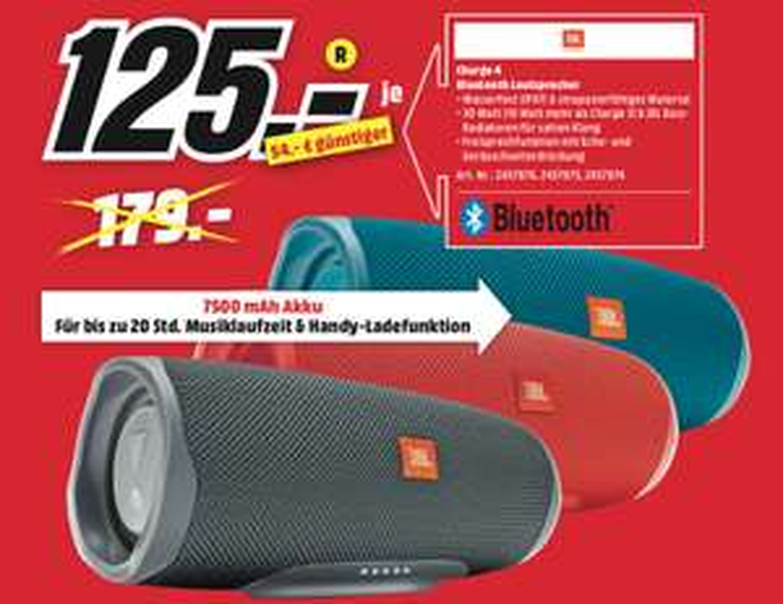 JBL Charge 4 Multimedia-Lautsprecher Bluetooth (Lokal MediaMarkt Würzburg)