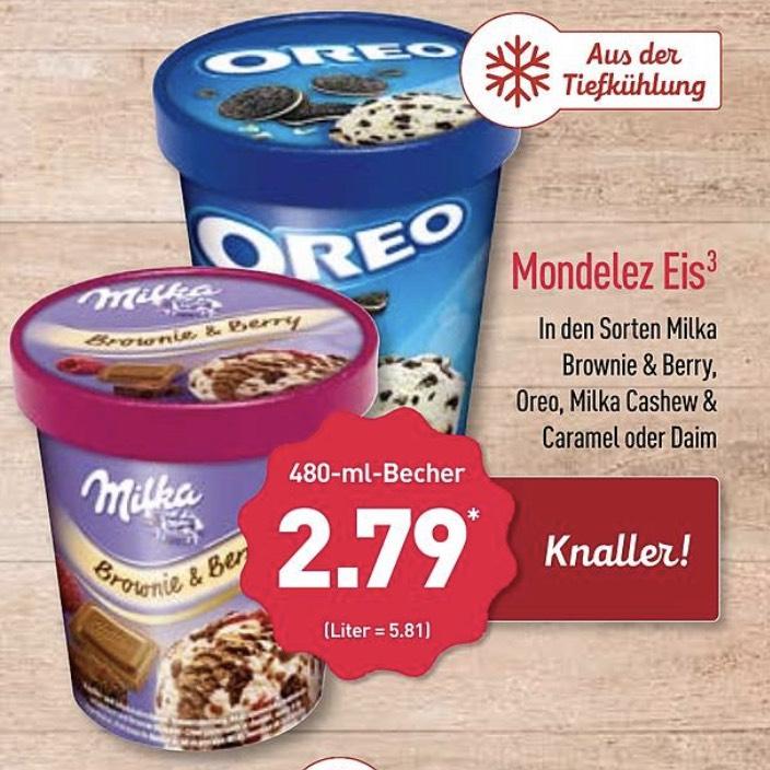 Mondelez Eis 480ml in den Sorten Milka Daim und Oreo 2,79€ [Aldi Nord ab 04.02]
