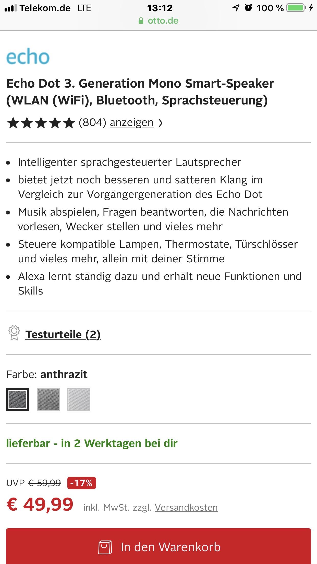 Echo Dot 3 für 49,95€ zzgl. VSK bei Otto
